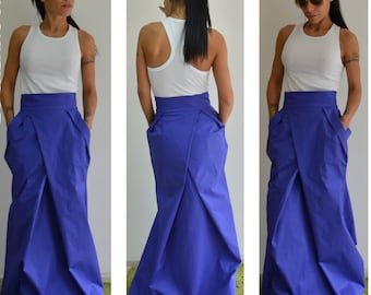 Maxi Long Skirt / High waist long skirt /Woman cotton long skirt /Ladies maxi skirt