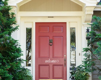 """Front Door Decoration Welcome Decal Sign Custom Vinyl Saying Monogram 14"""" x 4"""""""