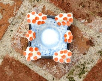 Orange Blue and Black Ceramic Ring Dish Made in Japan