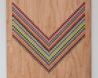 """Chevron Cross Stitch Wall Hanging, Laser Cut Birch, 12"""" by 12"""", Greys and Neons"""