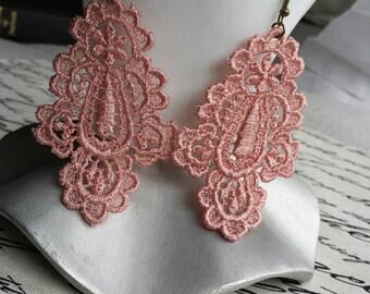 Dusty Rose Venice Applique Lace Earrings