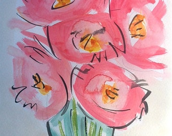 Abstract Watercolor Peonies painting