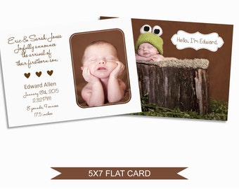 Birth Announcement Card Template - 5x7 Digital Photography Photoshop File - Template for Photographers - NC03 - INSTANT DOWNLOAD