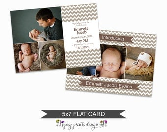Birth Announcement Card Template - 5x7 Digital Photography Photoshop File - Template for Photographers - NC13 - INSTANT DOWNLOAD