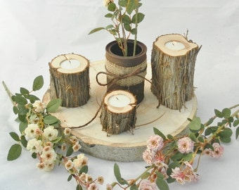 12 Juniper Log Candle Holders ~ Rustic Wedding Candles ~ Spring Wedding