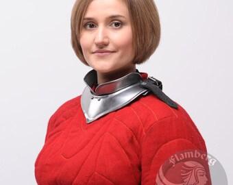 """Larp, Female Armor ,Fantasy, Elf, Elven Costume """"Flamberg"""" steel  armor for women: gorget"""