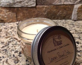 All Natural Soy Candle Handmade & Hand Poured -- Quilted Mason Jar Soy Candles - 4 oz - Cabin Candles  Bridal Shower Favor Baby Shower Favor