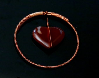 Hanging Heart Copper Wired Pendant In Hand Made