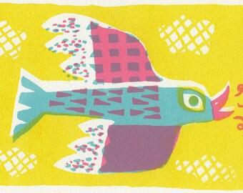 Bird - A5 screen print