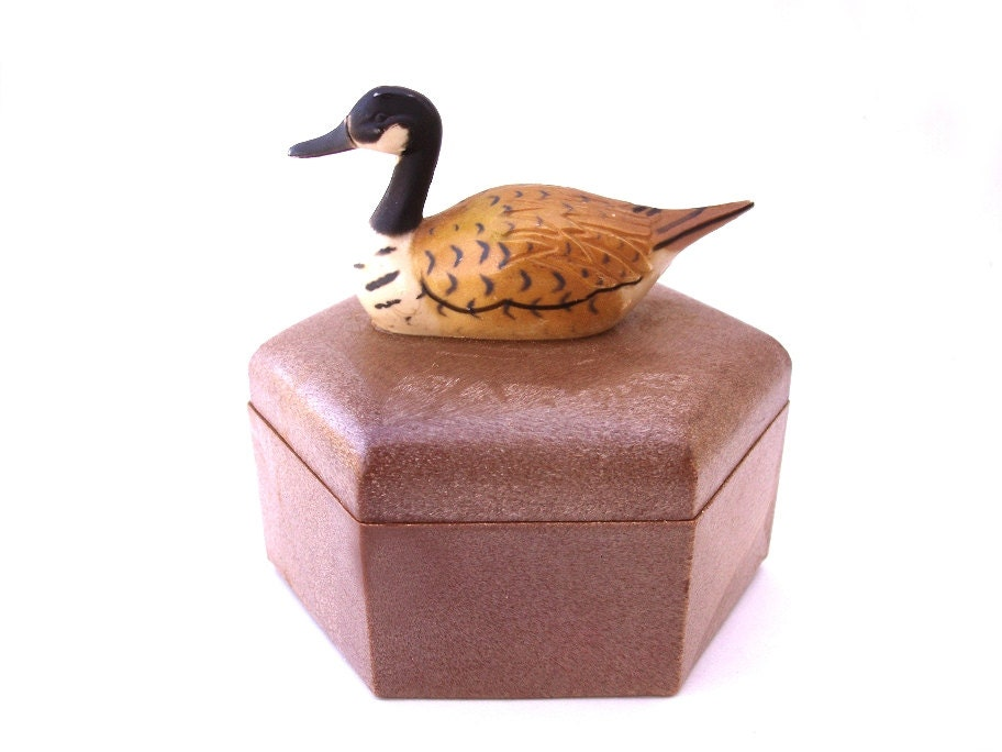 Acrylic Trinket Boxes : Vintage duck trinket box brown plastic storage by