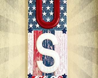 """4th of July """"USA"""" wood sign"""