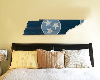 Tennessee State Flag Wooden Sign - Navy and Baby Blue