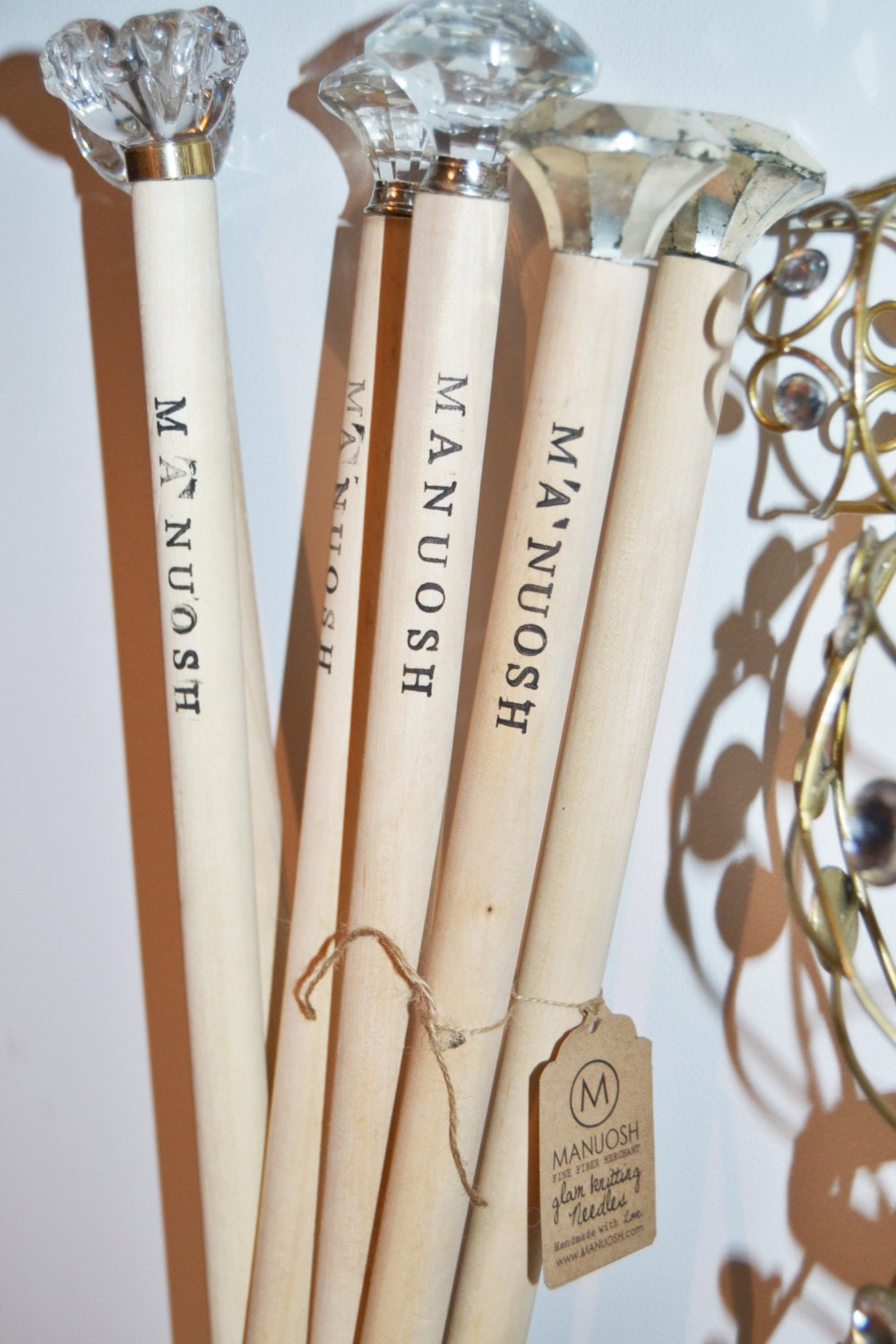 Wooden Knitting Needles : Glam Knitting Needles Large Giant Straight Wood Size by MANUOSH