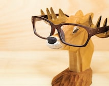Wooden animal-Deer Glasses Holder for Men - Carved Wood -  Wooden Nose - sunglasses holder - glasses stand - sunglasses stand -  Forest deer