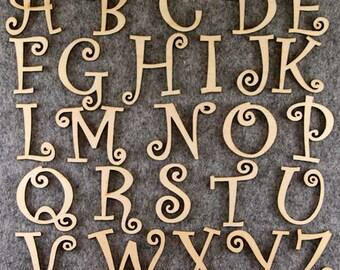 Curlz Font Alphabet Set 3mm Plywood Capitals Letters A-Z 26 Characters