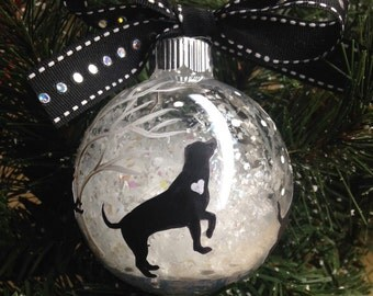 Dogs Playing in Snow Christmas Ornament - Handpainted Ornament