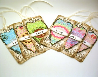 Hippie Heart Gift Tags - Boho Tags - LOVE Favor Tags - Double Layer Large Gift Tags