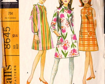 McCall's 8645 Vintage 1966 Sewing Pattern