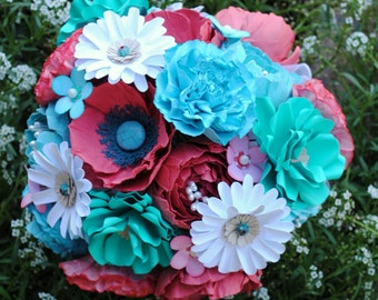 Coral/Aqua Paper Wedding Bouquet -  Flowers - Bridal Bouquet - Handmade- Poppies, Peonies, Daisies, Carnations - Custom Colors Available