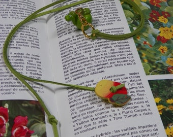 Small green Apple with a worm Bookmark in green suedette