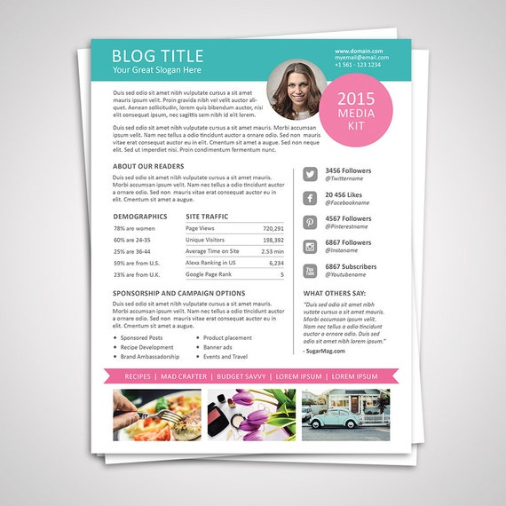 Blog media kit template ad rate sheet template by graphicadi for Advertising media kit template