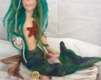 needle felted Mermaid Jewelry Dish