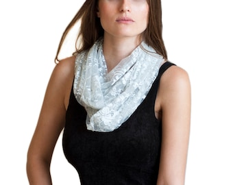 Silver lace infinity scarf with 4 wearing options- shawl, shrug, crisscross and infinity scarf (DL117)
