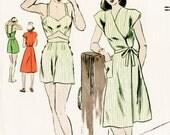 1940s 40s vintage sewing pattern crop top bikini bra, shorts, wrap dress beach swim bathing suit waist 26 w26 bust 34 b34 repro