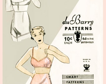 vintage sewing pattern 1940s 40s lingerie bra bralette & tap shorts bust 34 b34 repro reproduction