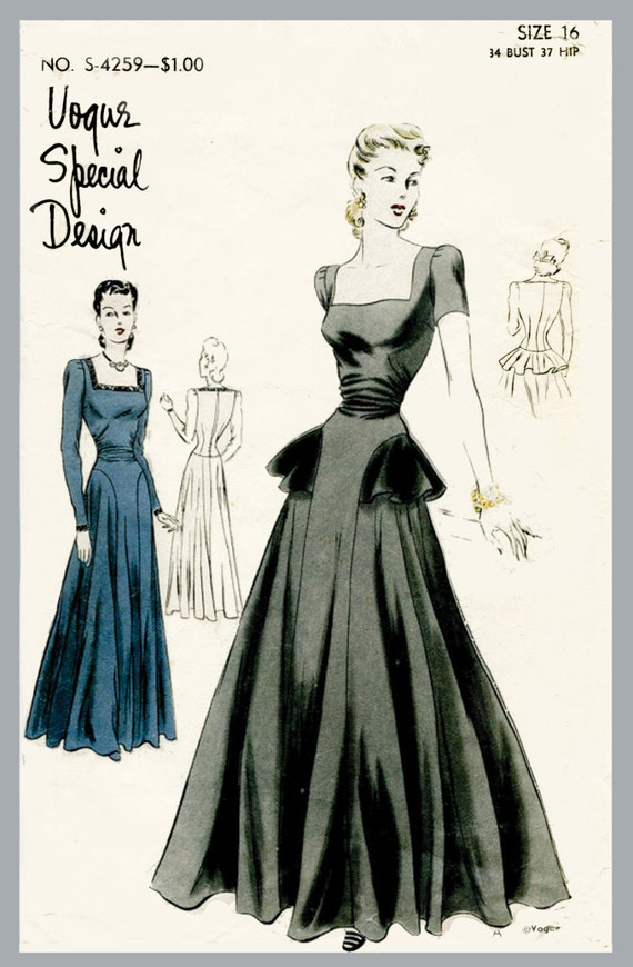 Vintage vogue sewing pattern 1940s 40s by ladymarlowestudios for 1940s wedding dress patterns