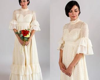 1960s Bohemian Wedding Dress / Vintage Eyelet Lace Wedding Dress