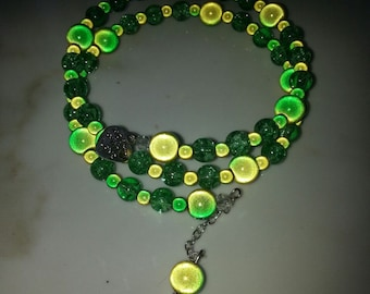 Silver Plated Yellow and Green Miracle Bead Bracelet