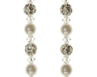 Wedding crystal and pearl long earrings