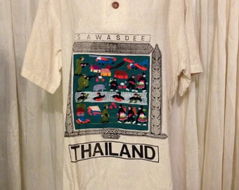 Free Shipping/Vintage Thailand Shirt Sawasdee Hand Stitched Very Colorful! One Size Fits All