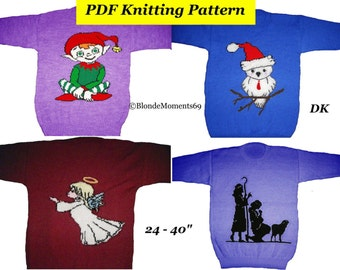 Christmas Elf Jumper Knitting Pattern : BlondiesKnitDesigns on Etsy