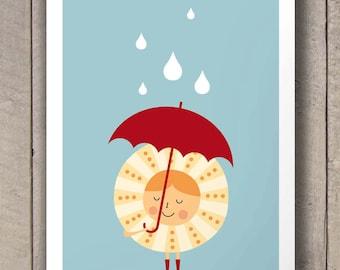 Nursery Yellow Sun Decor Poster Print Rainy Day Baby nursery art decor, Size A2 or 16x20
