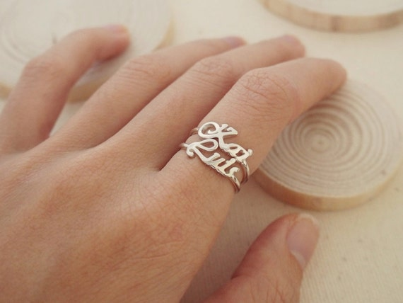 40 Off Stacking Name Ring Custom Name By Caitlynminimalist