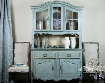 Hand Painted French Provincial Buffet & Hutch