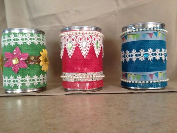 Burlap Lace Ribbon Embellished Upcycled Tin Cans Wedding