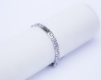 Greek key Bracelet  925 solid Sterling Silver Platinum Plated.High Quality Handmade product.