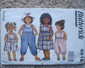 UNCUT Girl's Dress and Jumpsuit - Size 4 to 6 - Butterick Pattern 6818 - Vintage 1993