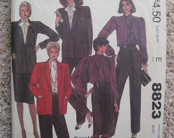 UNCUT Misses Jacket, Blouse, Pants and Skirt - Size 10 - McCalls Sewing Pattern 8823 - Vintage 1983