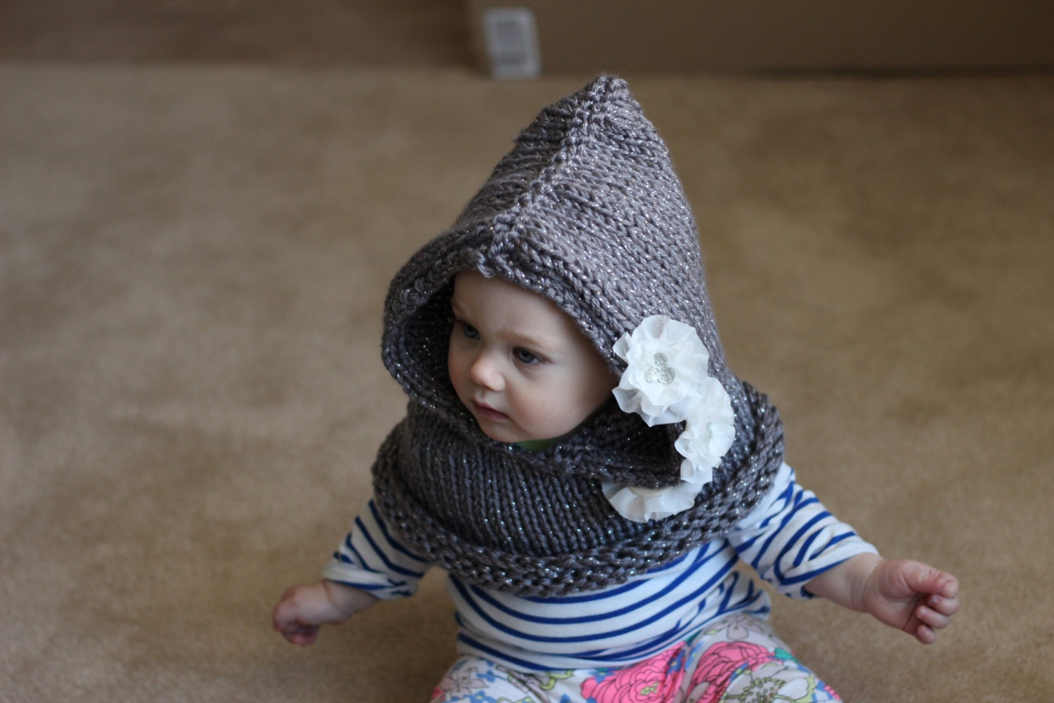 Knitted baby hooded cowl with white lace flowers by KoalaBelle