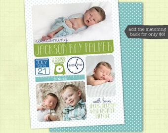 Birth Announcement / Baby Boy Birth Announcement / Photo Birth Announcement