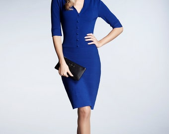 GRACE - Azure blue knitted bodycon dress