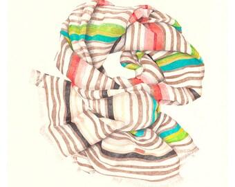 Ltd Edition Print of Missoni Striped Scarf Drawing