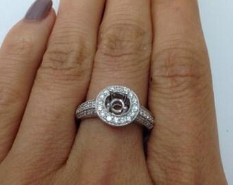 14K White Gold Milgrain Diamond Halo Ring Setting Semi Mount
