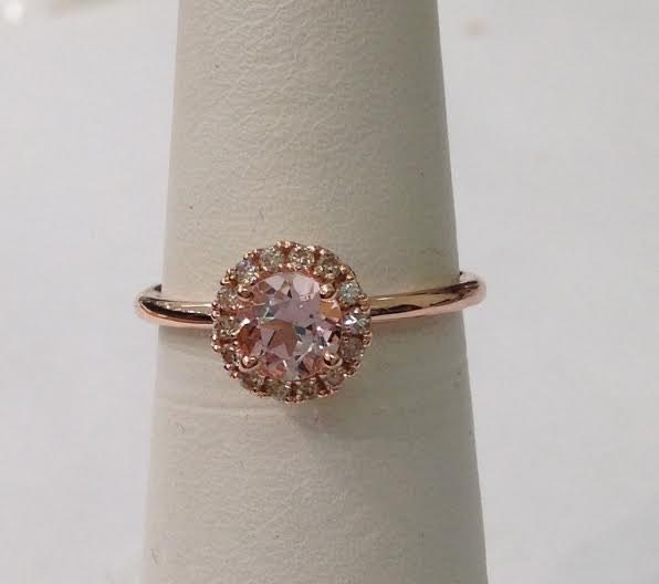 Super Rond en or Rose Morganite bague diamant Halo 14k rose bande ML23