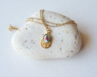 SALE, Gold Teardrop Pendant Chain Necklace, 12k Gold Filled  Flower  Pendant Vintage Drop Necklace, Minimalist Jewelry, Retro Gold Jewelry