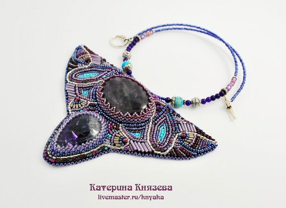 Items similar to lady ravenna bead embroidery necklace